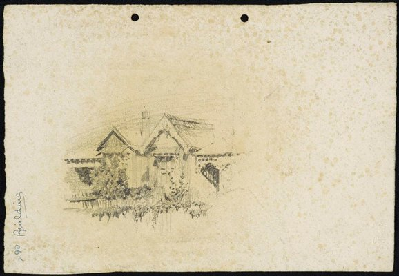 Alternate image of recto: Scots Kirk on Church Hill verso: A gabled house by Lloyd Rees