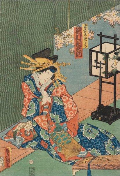 An image of Actor Sawamura Tanosuke III as Courtesan Katsuragi by Utagawa Kunisada/Toyokuni III