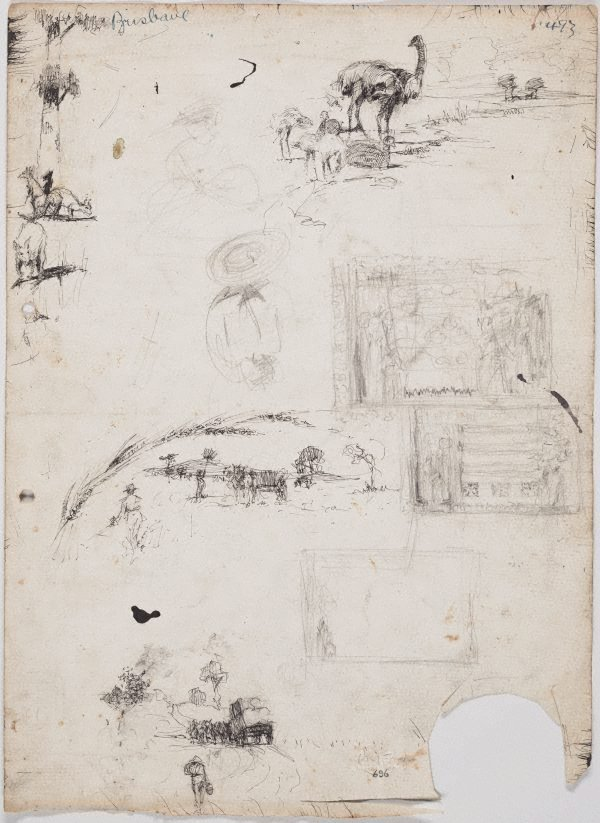An image of recto: Small country scenes, emus and kangaroos verso: French building and Buildings and plans