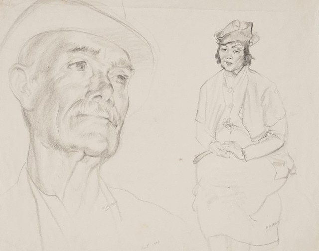 An image of (Two life studies: head of man in hat & seated woman with hands clasped)