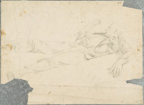 An image of (Male figure sleeping) (Student studies) by William Dobell