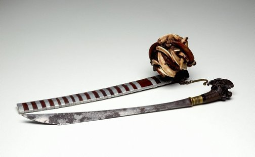 An image of Sword with scabbard and amulet basket (belato sebua) by