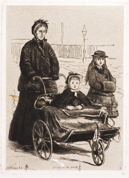 An image of Going to the park by Sir John Everett Millais
