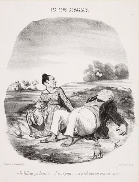 An image of Don't frighten it, Eudoxie... by Honoré Daumier
