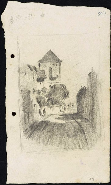 An image of Approaching Scots Kirk by Lloyd Rees