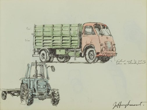 An image of Truck and tractor by Jeffrey Smart