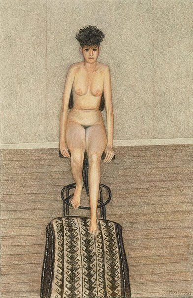 An image of Nude with revolving chair by John Brack