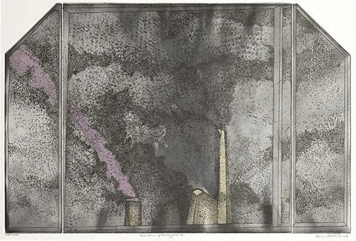 An image of Window and factory smoke II by George Baldessin