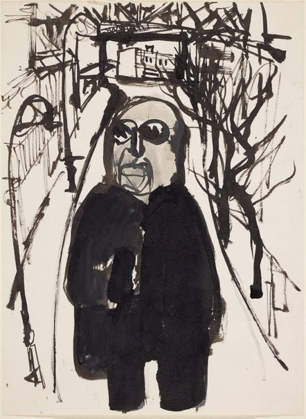 An image of Haymarket figure (man in dark glasses in street) by Kevin Connor