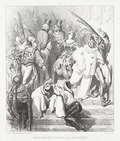 An image of The Opera staircase at Mid-Lent by Gustave Doré