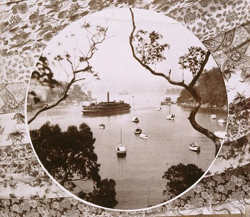 An image of Untitled (Wooden steam ferry leaving old Cremorne wharf in Mosman Bay) by Edward William Searle