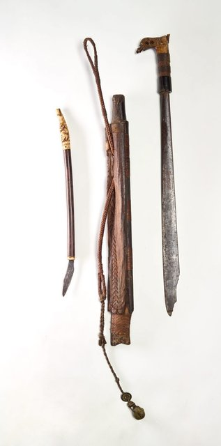 AGNSW collection Sword (mandau) with scabbard and knife 19th century-20th century