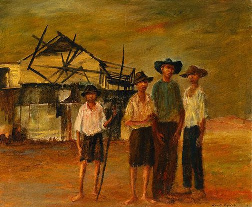 An image of Four boys in Cooktown by Russell Drysdale
