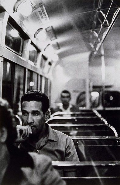 An image of Charles Perkins on bus home after visit to Tranby, Glebe by Robert McFarlane