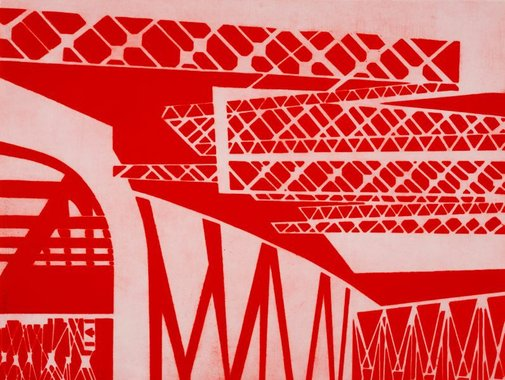 An image of The red bridge by Louise Forthun