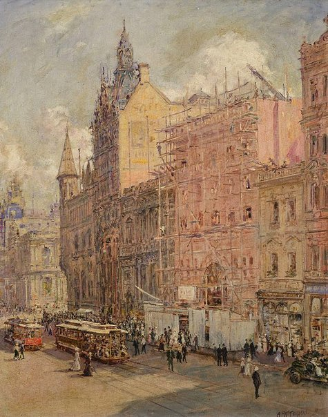 An image of Collins St, Melbourne by Ambrose Patterson