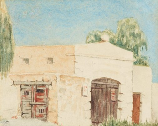 An image of First watercolour outdoors, Rottnest W.A. by Hal Missingham