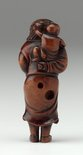 Alternate image of Netsuke in the form of a curly-haired Dutchman carrying a child on his back, holding a horn by