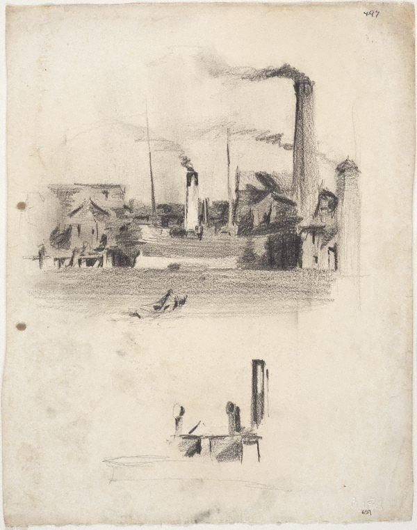 An image of Smoking chimneys by the water and Funnels of a ship