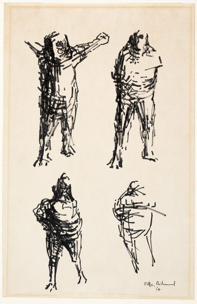 An image of (Four male figures; drawings for sculptures) by Oliffe Richmond