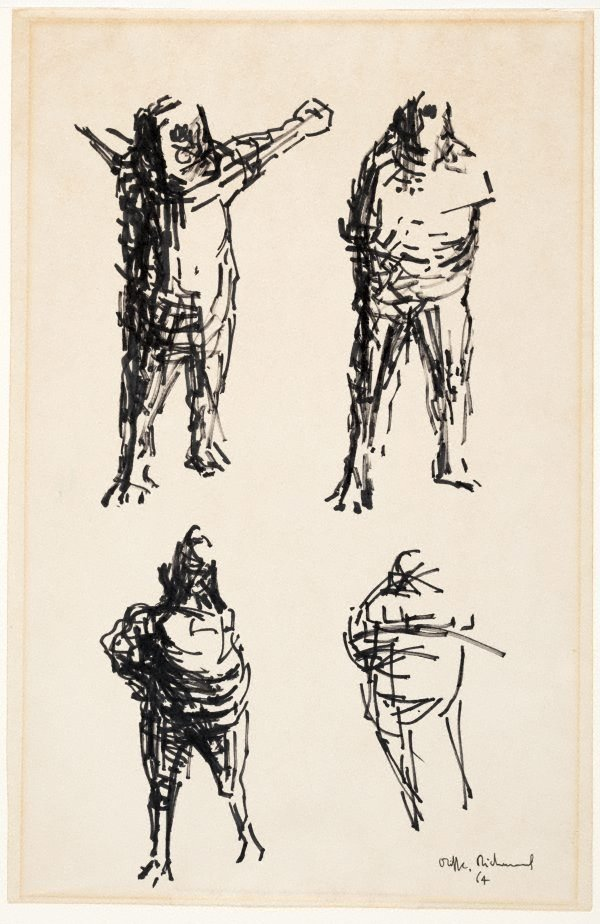 An image of (Four male figures; drawings for sculptures)