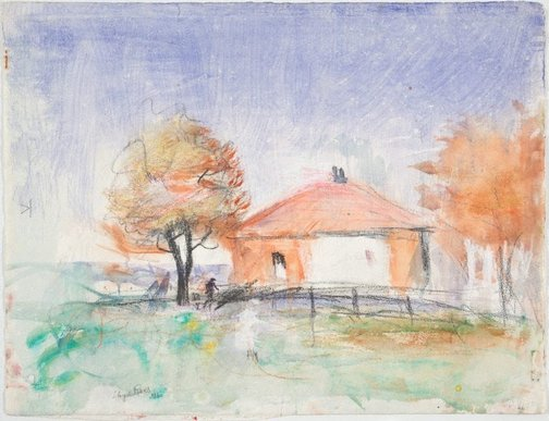 An image of House and trees by Lloyd Rees