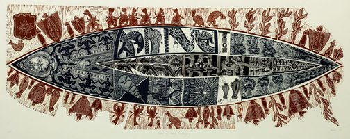 An image of A canoe of many passengers by Michael Tuffrey, Matatia Warrior, Avril Ahwang, Warren Brim, Ethel Sambo, Bianca Mahoney, Glen Mackie, Anna Eglitas, Sheila Sparks, Vicki Igibi
