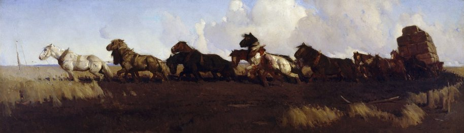 AGNSW collection George W Lambert Across the black soil plains (1899) 550