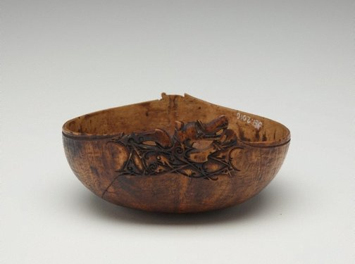 An image of Bowl carved with mythical creature (aso) by