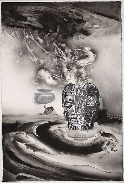 The image of the king riven by a bolt of lightning, is revealed as a silo of spaghetti, (1978) by James Gleeson