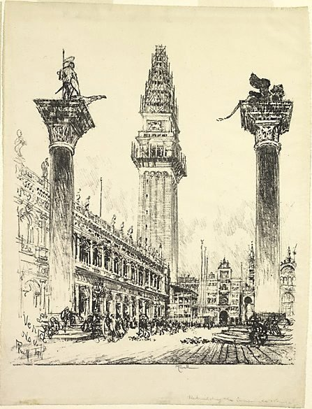 An image of Rebuilding the Campanile, St Marks by Joseph Pennell