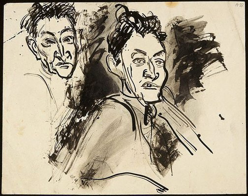 An image of (Two head studies) (Student studies) by William Dobell