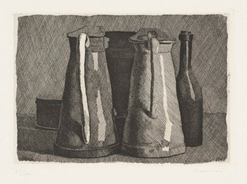 An image of Still life with five objects by Giorgio Morandi