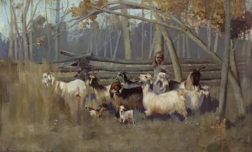 An image of A bush idyll by George W Lambert