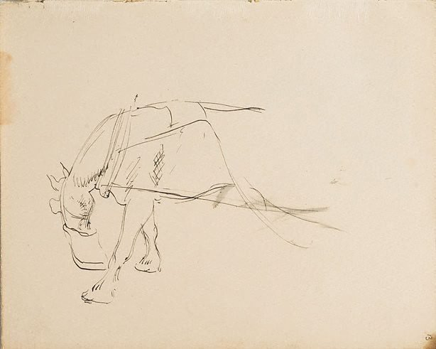 An image of (Horse in harness with feed bag) (London genre)