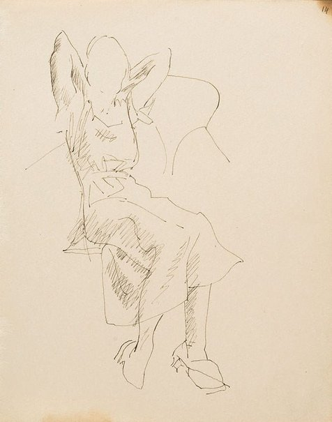 An image of (Study of woman with hands behind her head) (London genre) by William Dobell