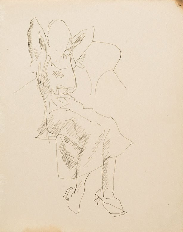 An image of (Study of woman with hands behind her head) (London genre)