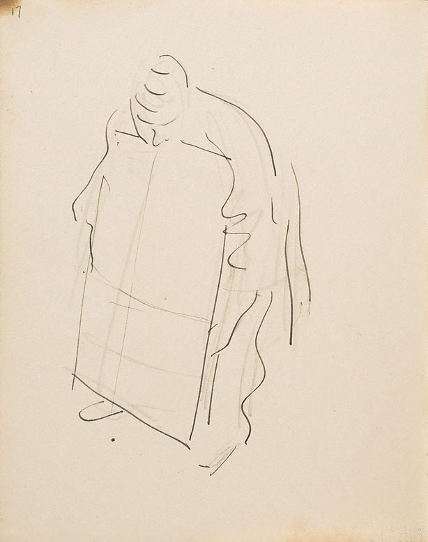 An image of (Figure holding board) (London genre)