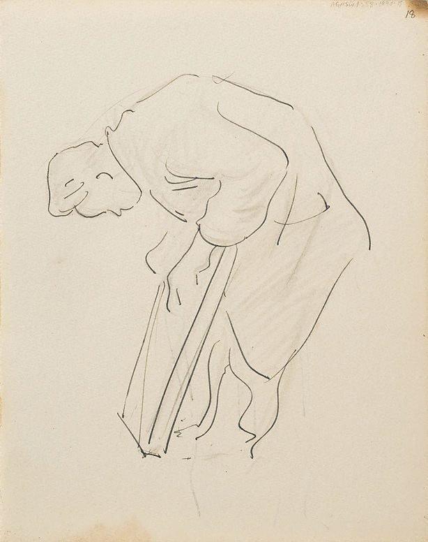 An image of (Study of man lifting board) (London genre)