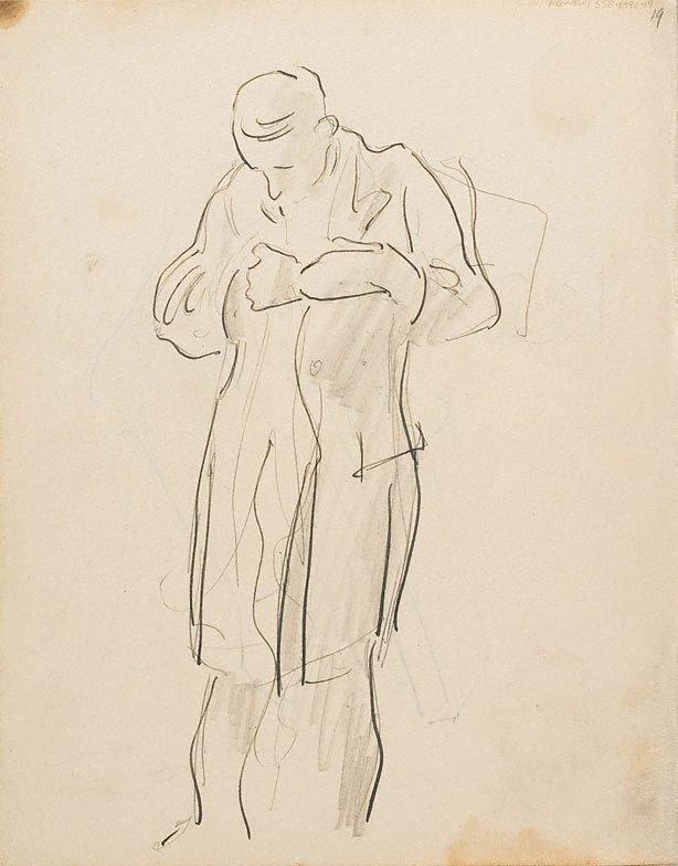 An image of (Man buttoning coat) (London genre)