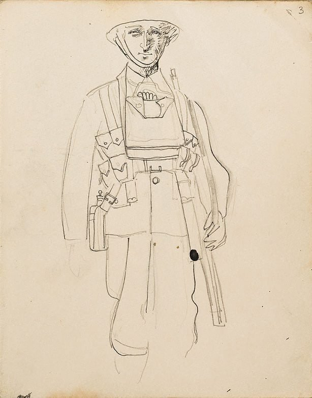 An image of (Study of a soldier) (London genre)
