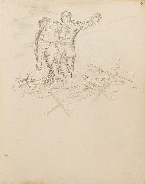 An image of (Soldier with arm outstretched, supporting wounded man) (London genre) by William Dobell