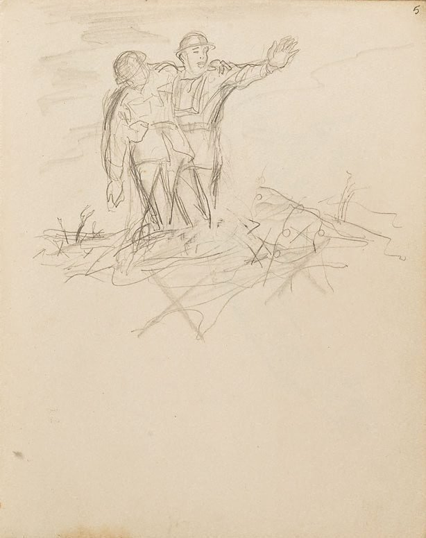 An image of (Soldier with arm outstretched, supporting wounded man) (London genre)