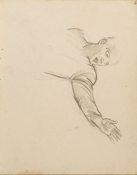 An image of (Study of man with arm outstretched) (London genre) by William Dobell