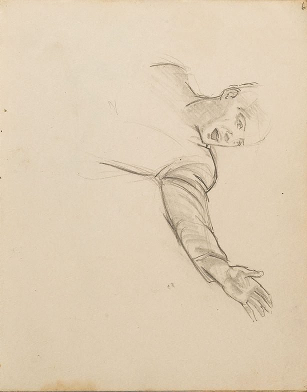 An image of (Study of man with arm outstretched) (London genre)