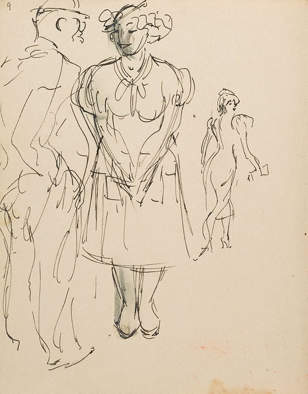 An image of (Study of couple with woman in background) (London genre)