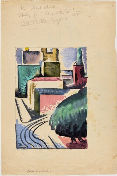 An image of Study for linocut 'Elizabeth Street, Sydney' by Dorrit Black