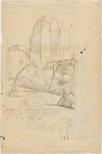 Alternate image of Study for linocut 'Elizabeth Street, Sydney' by Dorrit Black