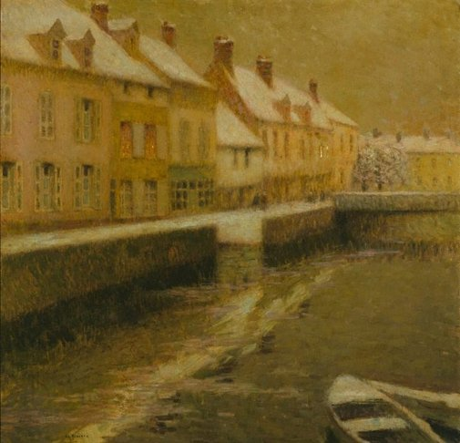 An image of Canal in Bruges, winter by Henri Le Sidaner