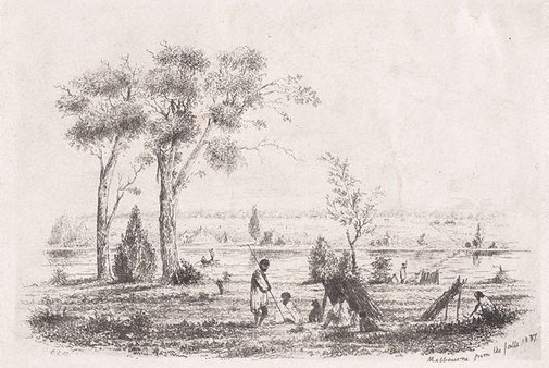 An image of Melbourne from the falls by E.L. Montefiore